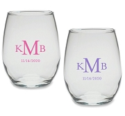 Three Letter Monogram Personalized Stemless Wine Glass (9 or 15 oz)