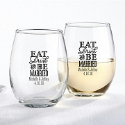 Eat, Drink & Be Married Stemless Wine Glass (9 oz)