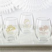 Fall Wedding Personalized Stemless Wine Glass (15 oz)