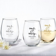 Mr. & Mrs. Personalized Stemless Wine Glass (9 oz)