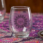 Henna Monogram Stemless Wine Glass (9 oz)
