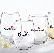 Bride and Bridesmaids Stemless Wine Glass (set of 4)