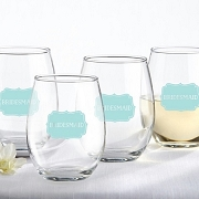 Bridesmaids Stemless Wine Glasses (Set of 4)