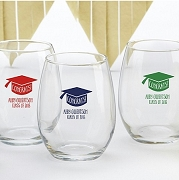 Personalized 15 oz. Wine Glass - Congrats Graduation Cap