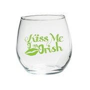 Kiss Me I'm Irish 15 oz. Stemless Wine Glass (Set of 4)