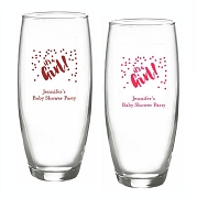 It's A Girl Personalized Stemless Champagne Glasses (9 oz)