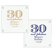 30th Birthday Personalized Glass Coasters