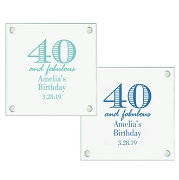 40th Birthday Personalized Glass Coasters