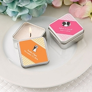 Square Silver Metal Travel Candle Favor