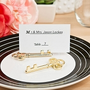 Ornate Shiny Gold Skeleton Key Place Card Holder