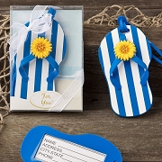 Blue and White Striped Beach Flip Flop Luggage Tag