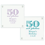 50th Birthday Personalized Glass Coasters