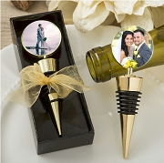 Gold Metal Wine Bottle Stopper Favors - Add Your Own Photo