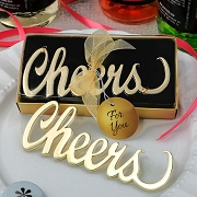 Cheers Bottle Opener with Gold Finish