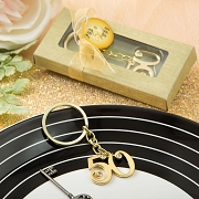 50th Gold Metal Key Chain