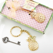 Pineapple Gold Metal Key Chain Favors