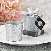 Silver Glitter Votive Candle Holder