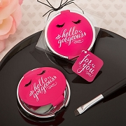 Hello Gorgeous Compact Mirror In Hot Pink