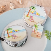 Beach Design Metal Compact Mirror With Epoxy Top