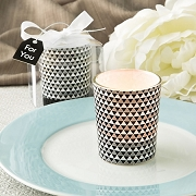 Modern Graphic Design Glass Candle Votive Holder in Silver