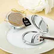 Modern Gold Graphic Design Compact Metal Mirror Bridal Shower Favors