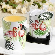 Tropical Flamingo Design Glass Votive Candle Holder