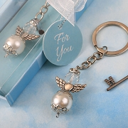 Angel Pearl and Crystal Key Chain with Silver Accent Angel Wings