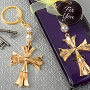 Gold Finish Cross Keychain Religious Favor