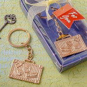 Gold Metal Luggage Tag Key Chain