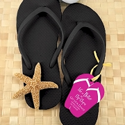 Black Wedding Flip Flops (Set of 6 ) with Personalized Tag