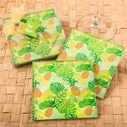 Tropical Pineapple Themed Glass Coasters (Set of 2)