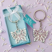 Silver Butterfly Design Metal Key Chain Favors