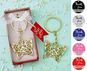 Gold Butterfly Keychain with Personalized Thank You Tag