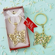 Gold Butterfly Design Metal Key Chain