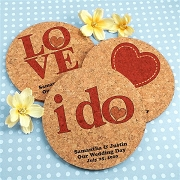 Personalized Cork Coaster - Love & Heart