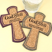 Personalized Cross Cork Coaster