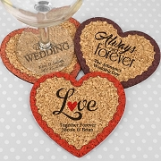 Personalized Wedding Heart Cork Coaster