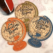 World Globe Personalized Cork Coaster