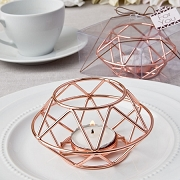 Geometric Design Rose Gold Metal Tealight Holder