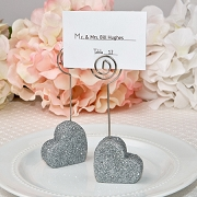 Heart Silver Glitter Place Card Holder