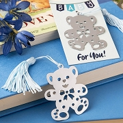 Lovable Teddy Bear Bookmark with Blue Satin Tassel