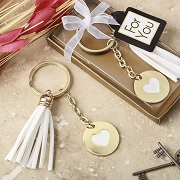 Gold Metal Heart Key Chain with White Tassel