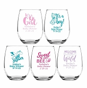 Popular Baby Shower Party Wine Glasses (9 oz or 15 oz)