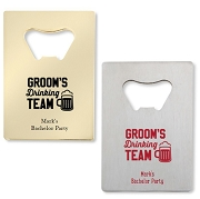 Groom's Drinking Team Credit Card Bottle Opener
