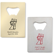 Bride & Groom Bottle Openers - Credit Card Design