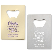 Cheers To The New Mr. & Mrs. Bottle Openers - Credit Card Design