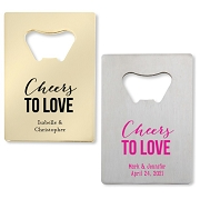 Cheers To Love Bottle Openers - Credit Card Design