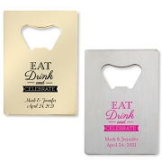 Eat Drink & Celebrate Bottle Openers - Credit Card Design