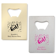 It's A Girl  Bottle Openers - Credit Card Design