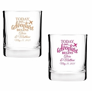 Today Our Adventure Begins Personalized Shot Glass Favors (2 oz)
